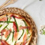 Tarte fine aux asperges, jambon et mozzarella